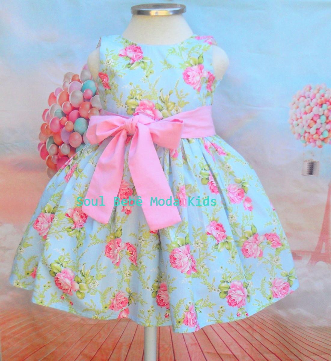 Vestido Infantil Floral Jardim Rosa