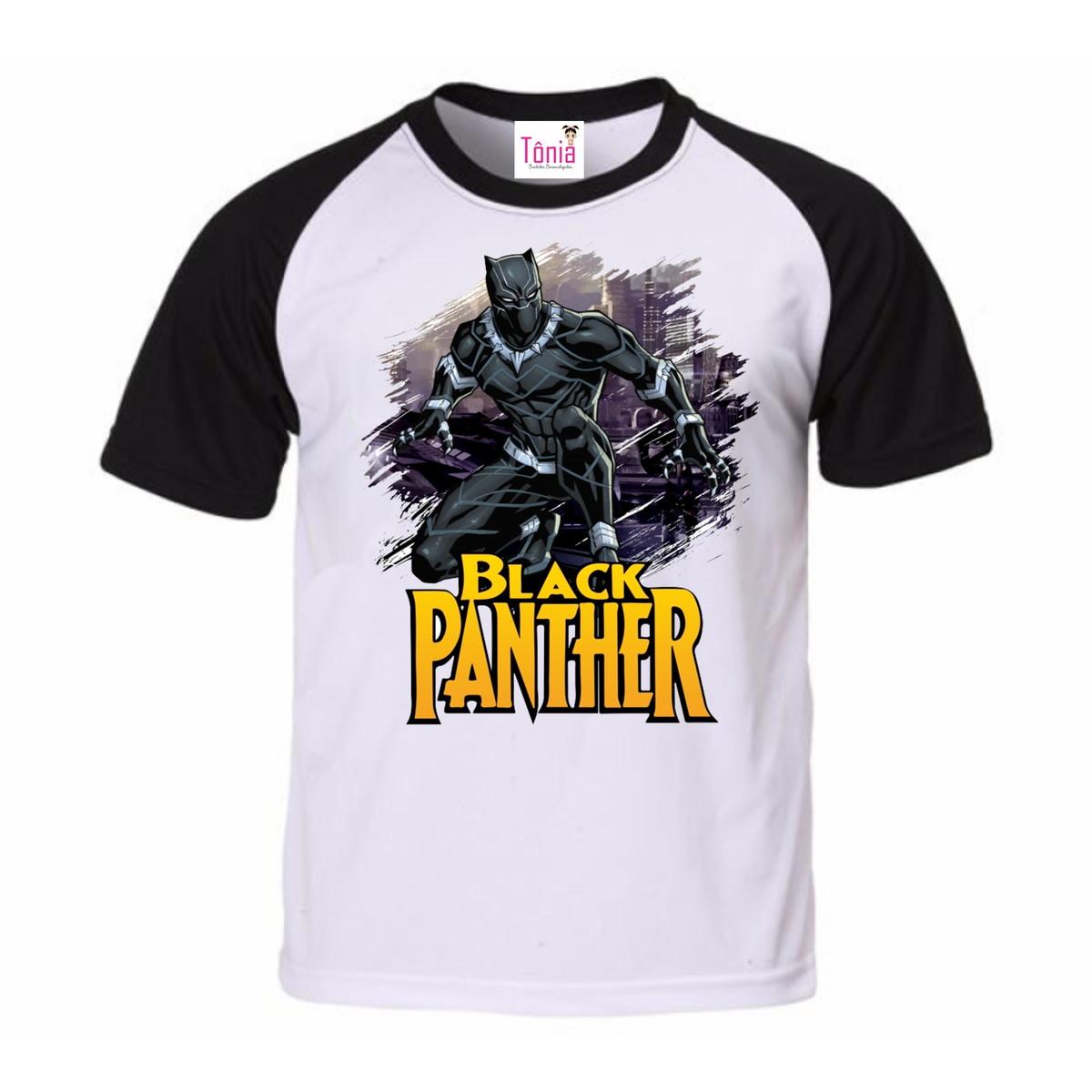 Camisa personalizada raglan preta - Pantera negra no Elo7  a5222f373cfb9