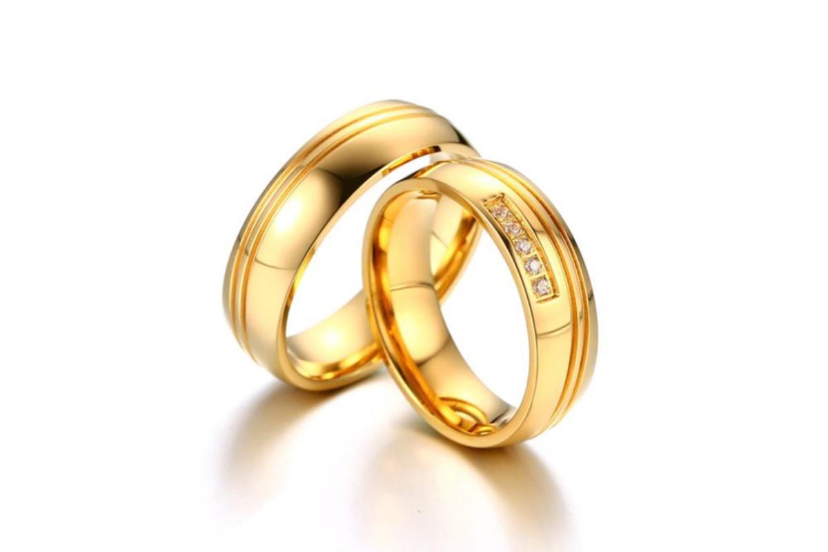 312b5a1c74d Par De Alianças De Noivado E Casamento banhada a ouro 18k no Elo7 ...