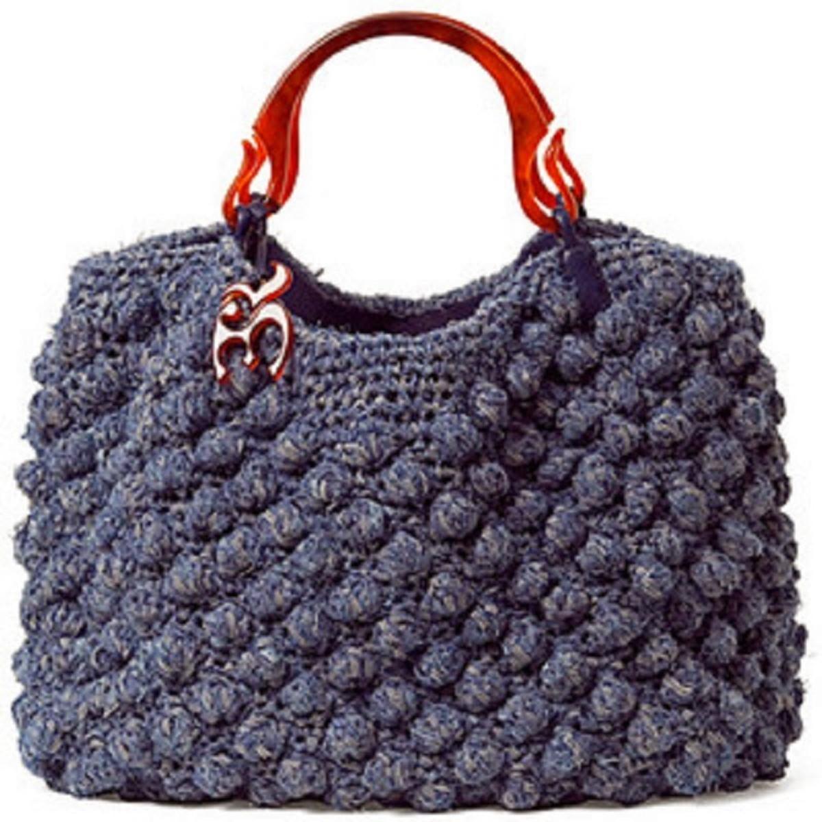 d386f4698 Bolsa Azul Croché Alça Couro no Elo7 | Davi Lopes Ferreira (C28303)
