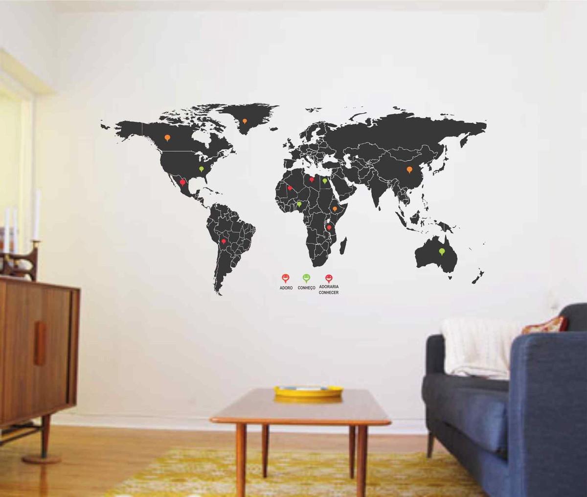 Adesivo De Parede Mapa Mundi Mochileiro Pins Viagem No Elo7