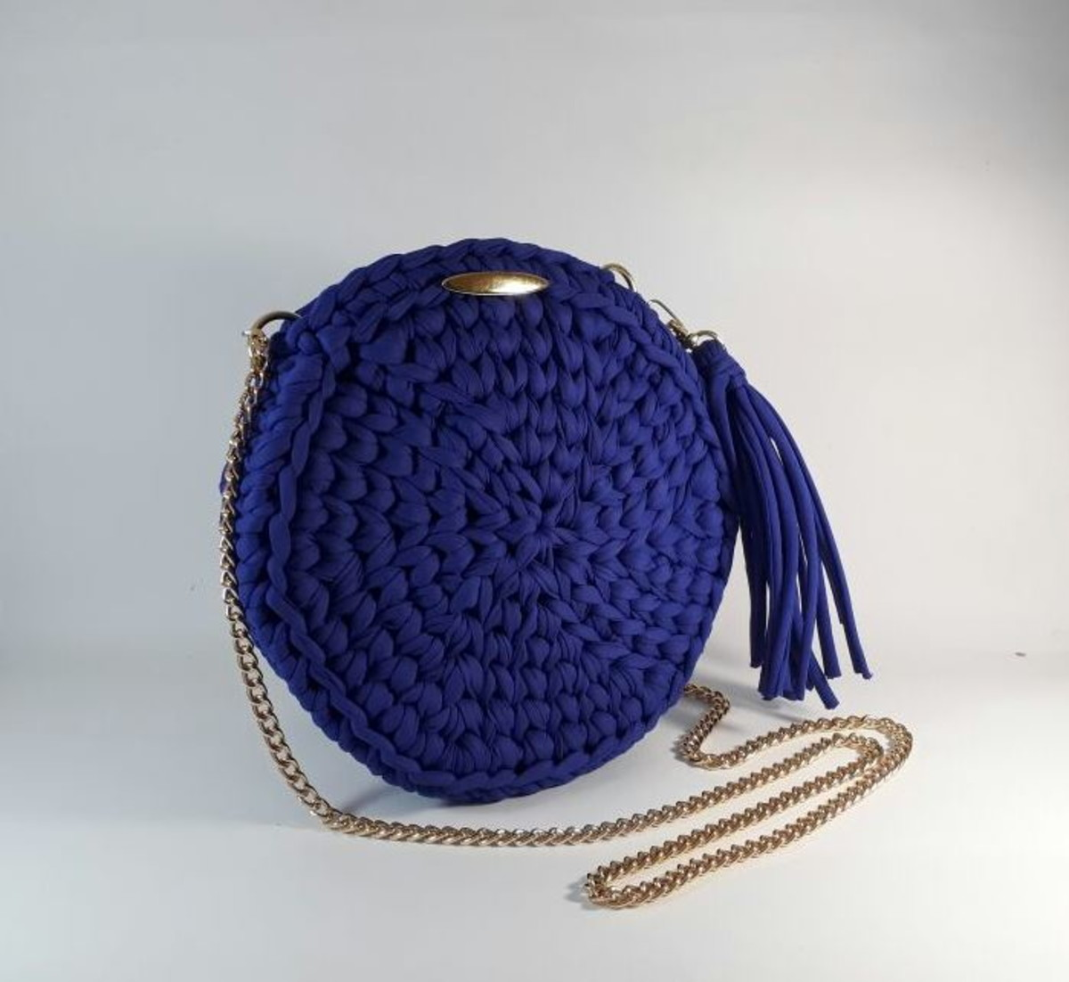 9d04cceb0cb Bolsa de crochet redonda azul no Elo7 | Jô Maia Artes (C2C482)