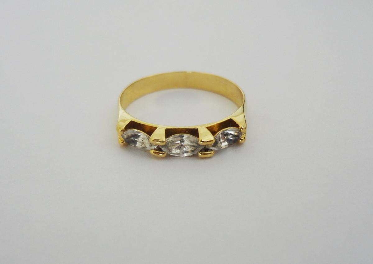Anel - Meia Aliança - Folheado a ouro - 3 Zircônias - Nº 17 no Elo7 ... 76dc25c6e5
