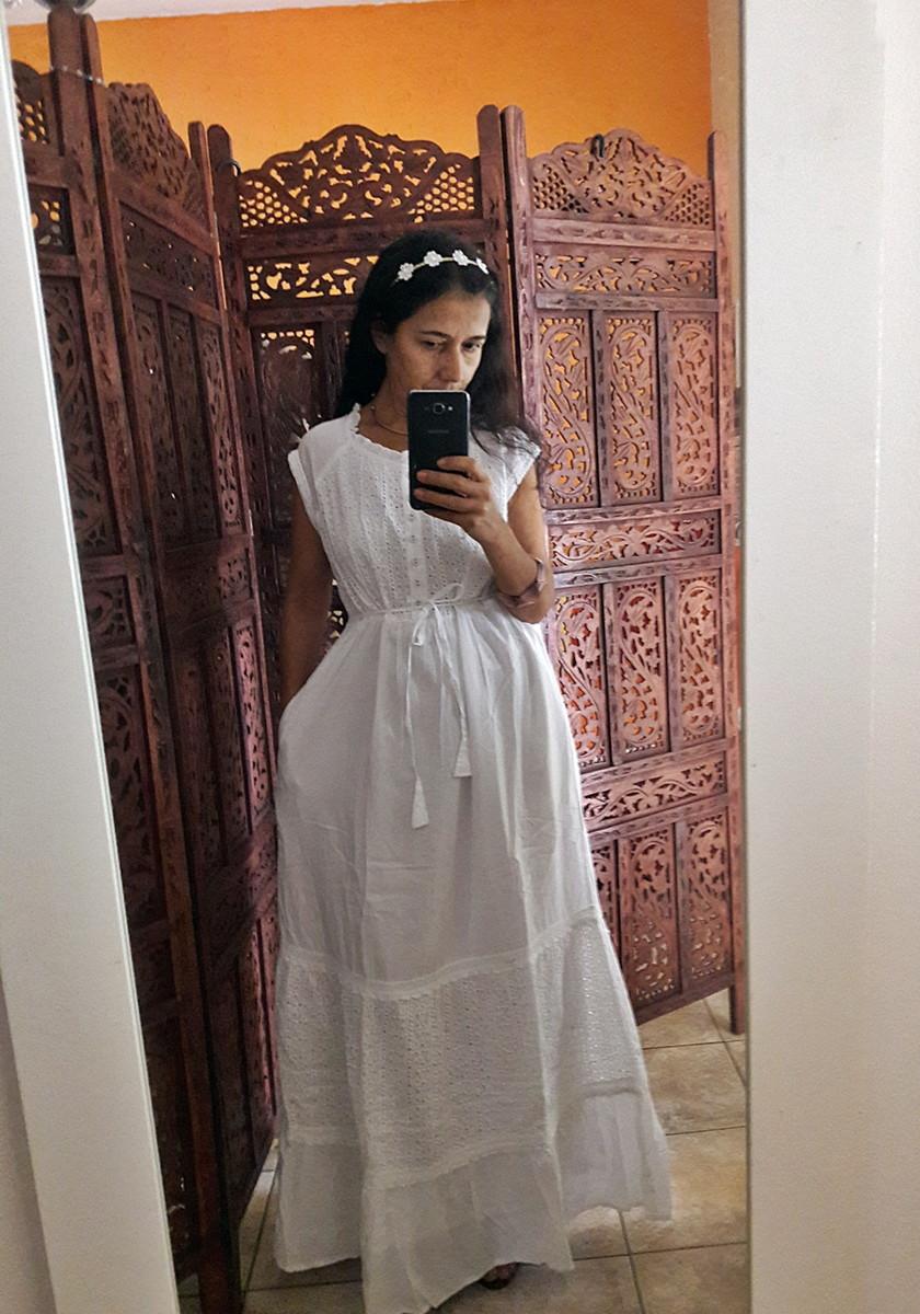 Vestido Longo Branco Laise Com Babado Retro Festa