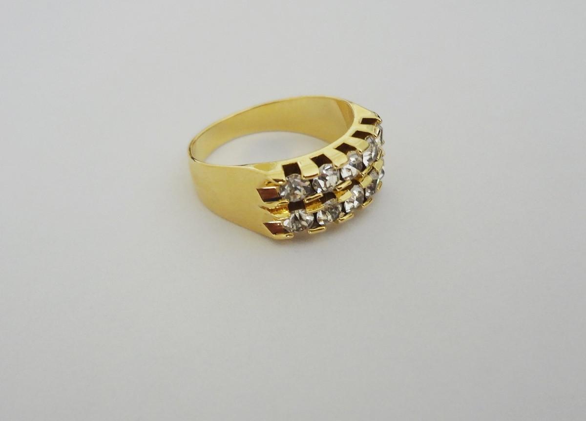 Anel - Meia Aliança - Folheado a ouro - 10 Zircônias - Nº 17 no Elo7 ... c8a9861694