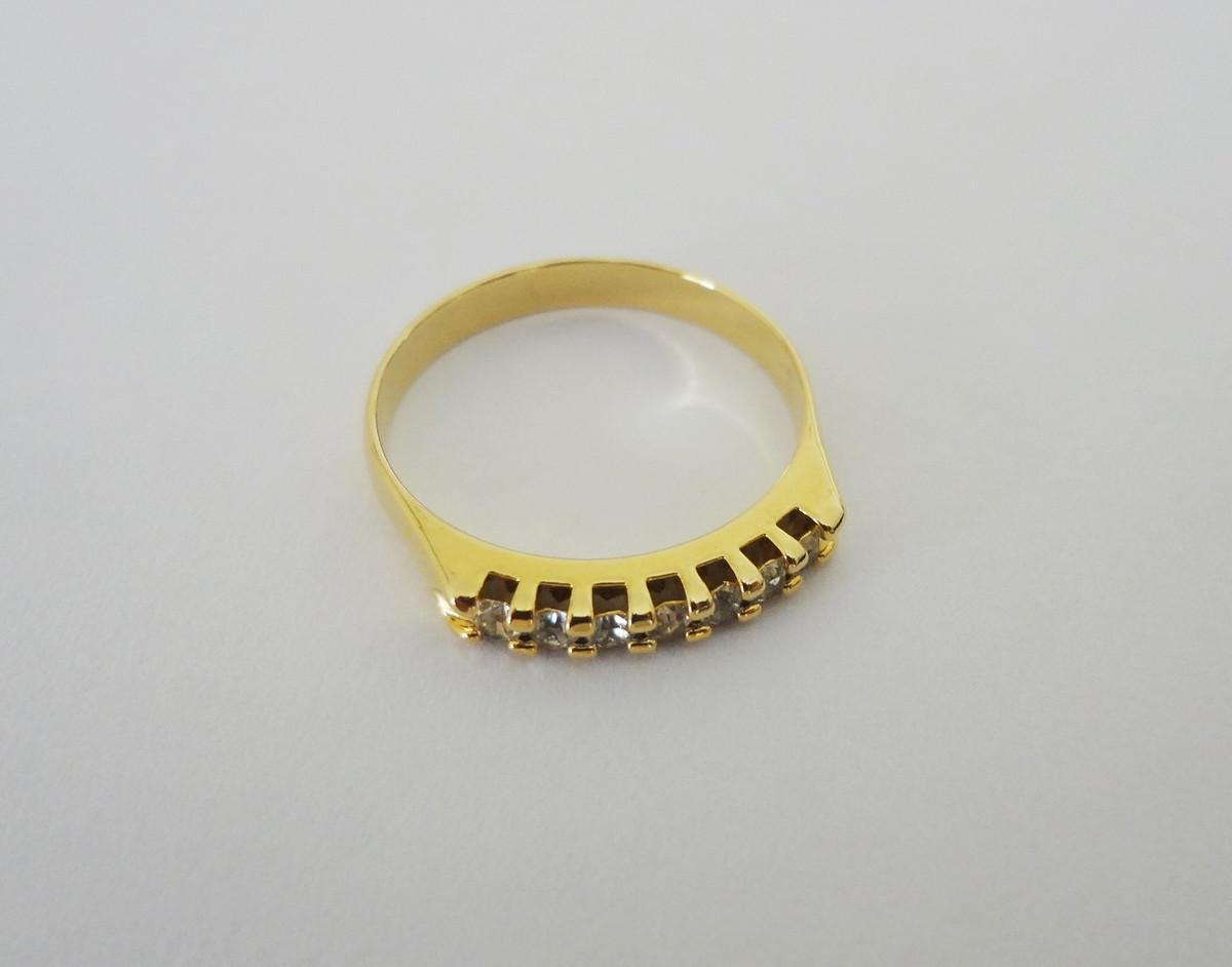Anel - Meia Aliança - Folheado a ouro - 7 Zircônias - Nº 17 no Elo7 ... 9161f25749