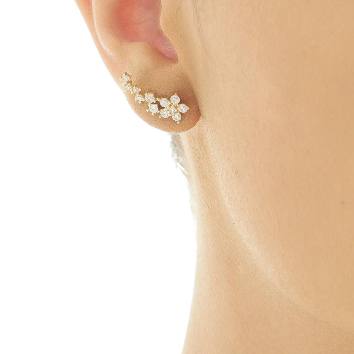 7d74acbf972ab Brinco Ear Cuff Florzinha Zircônia Cristal Semijoia no Elo7   Drusi ...