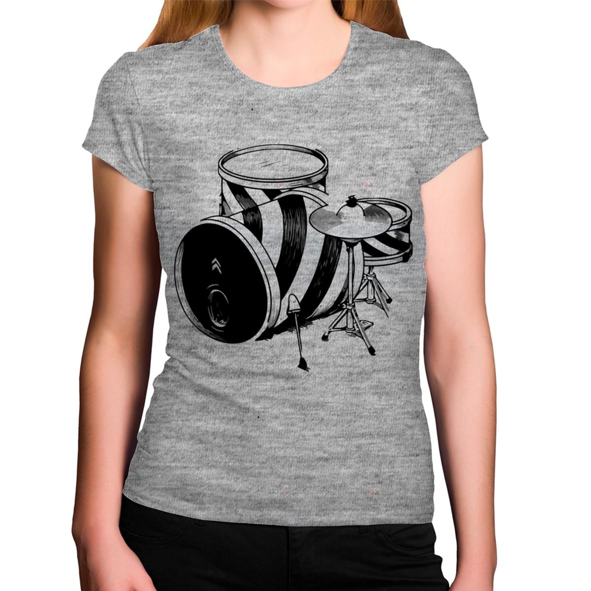 b429e377cd Camiseta Feminina Cinza Mescla Bateria Preta e Branca no Elo7 ...