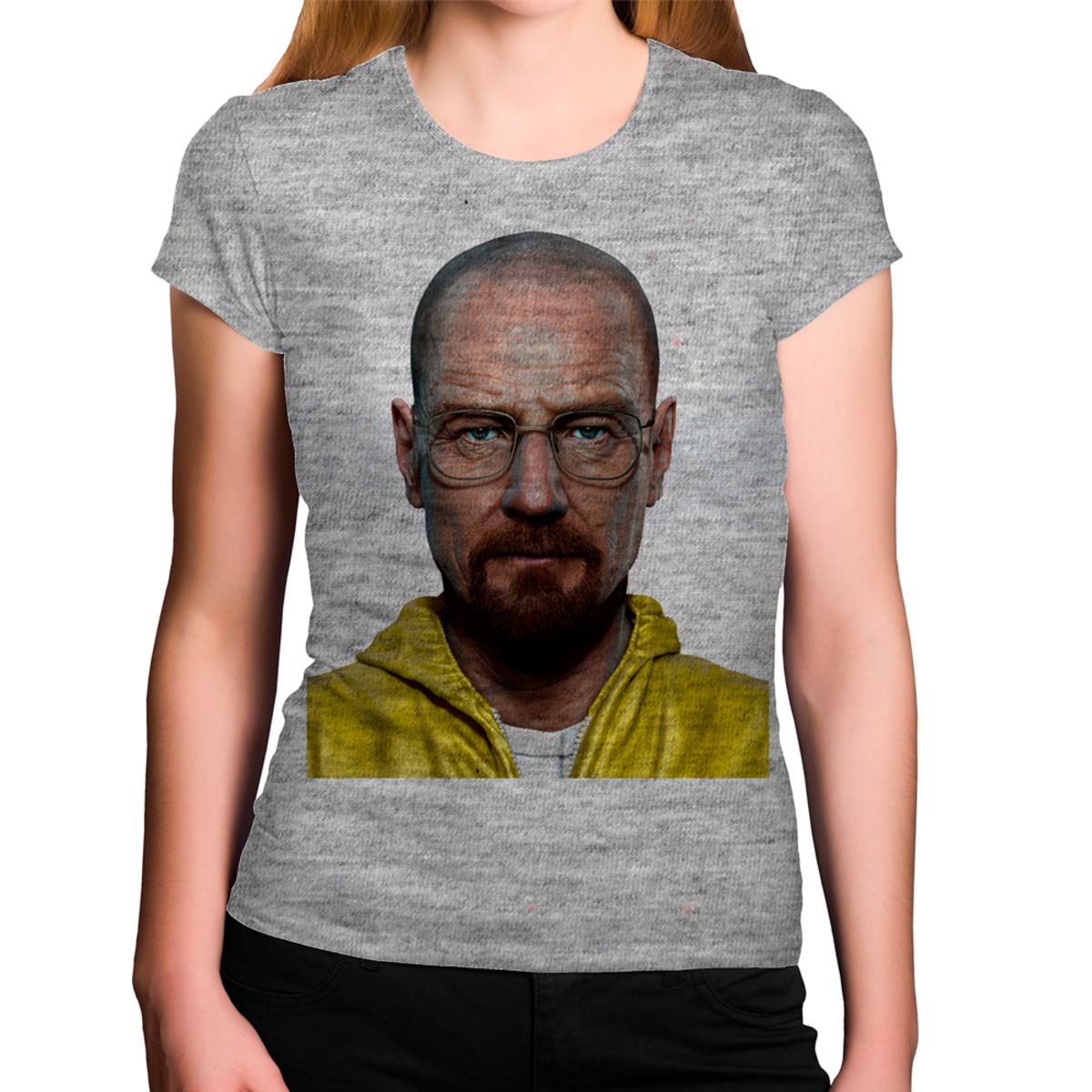 1338dc7c0 Camiseta Feminina Cinza Mescla Breaking Bad Heisenberg Roupa no Elo7 ...