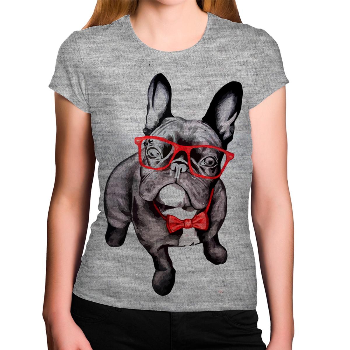 Camiseta Feminina Cinza Mescla Cachorro Estiloso Óculos Grav no Elo7 ... a27aa329a6
