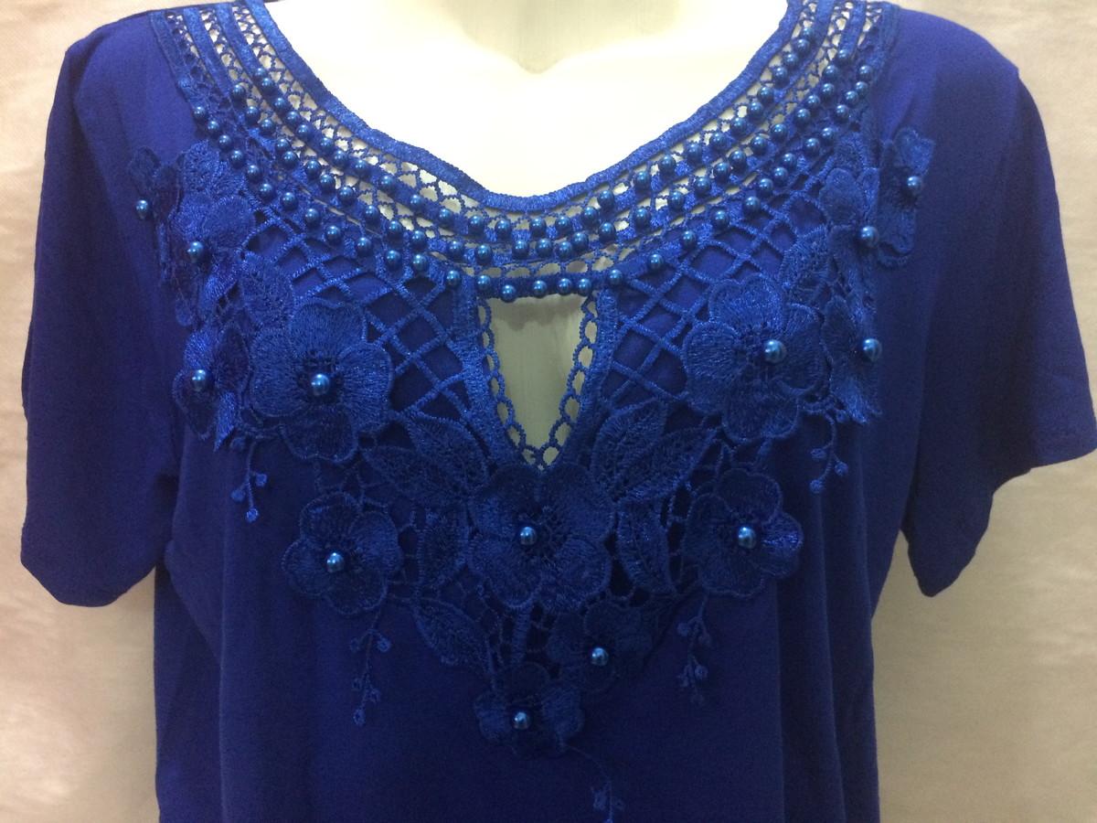 2f082da36a Blusa de manga na cor azul bordada com aplique pérolas no Elo7 ...
