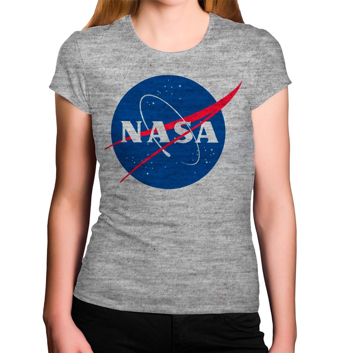 51369d506 Camiseta Feminina Cinza Mescla Logo Nasa no Elo7