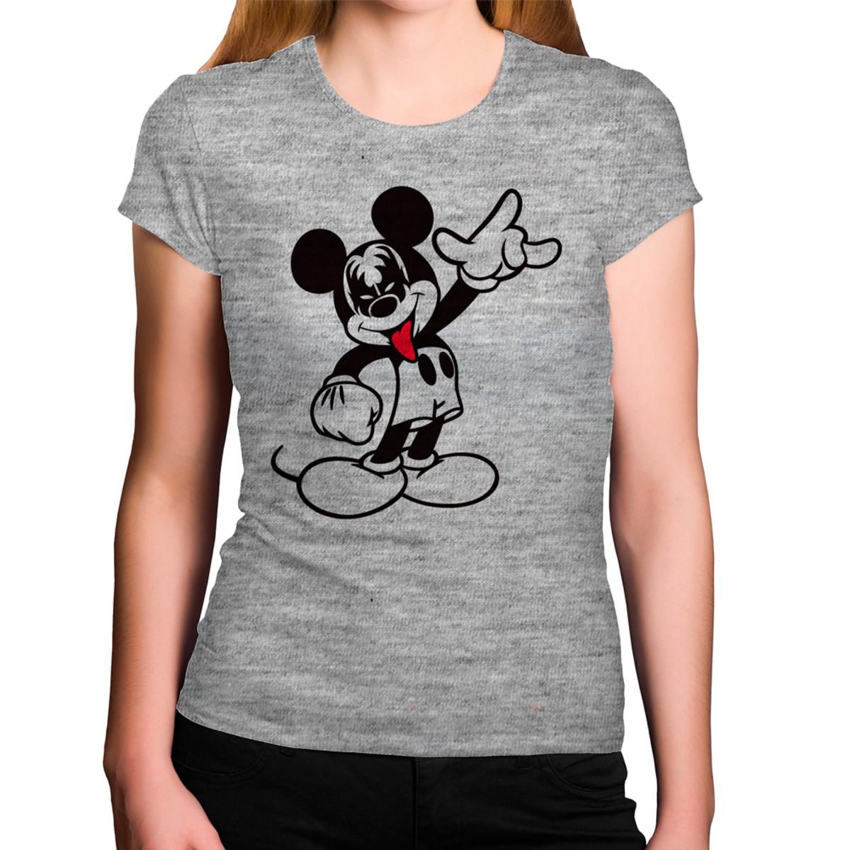 f015576c1 Camiseta Feminina Cinza Mescla Mickey Kiss Banda de Rock Pes no Elo7 ...