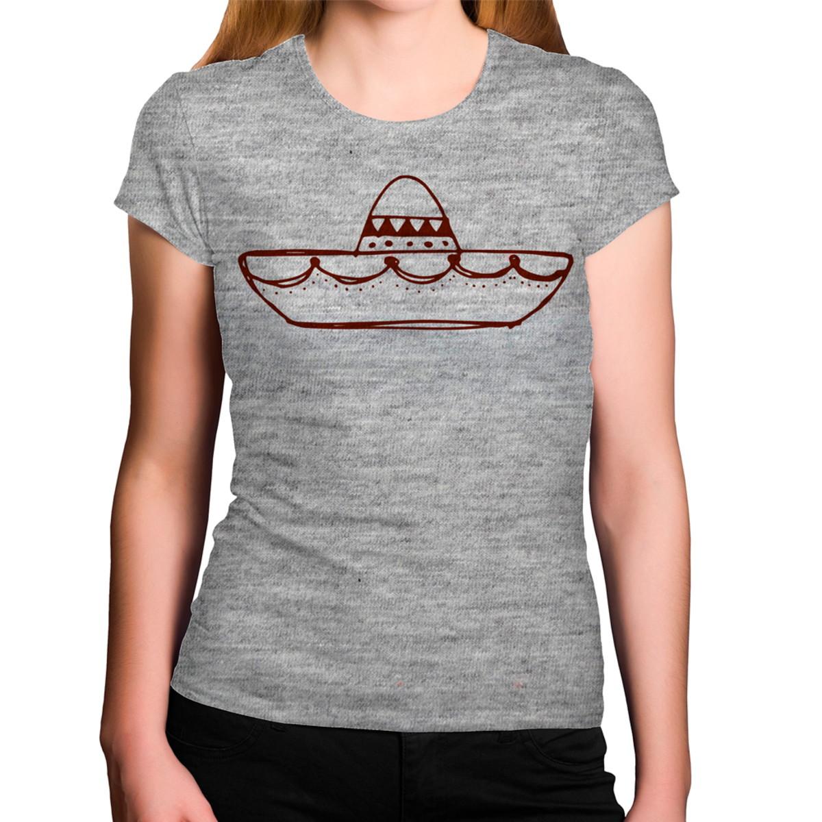 12ede4b07f51d Camiseta Feminina Cinza Mescla Sombreiro Mexicano no Elo7