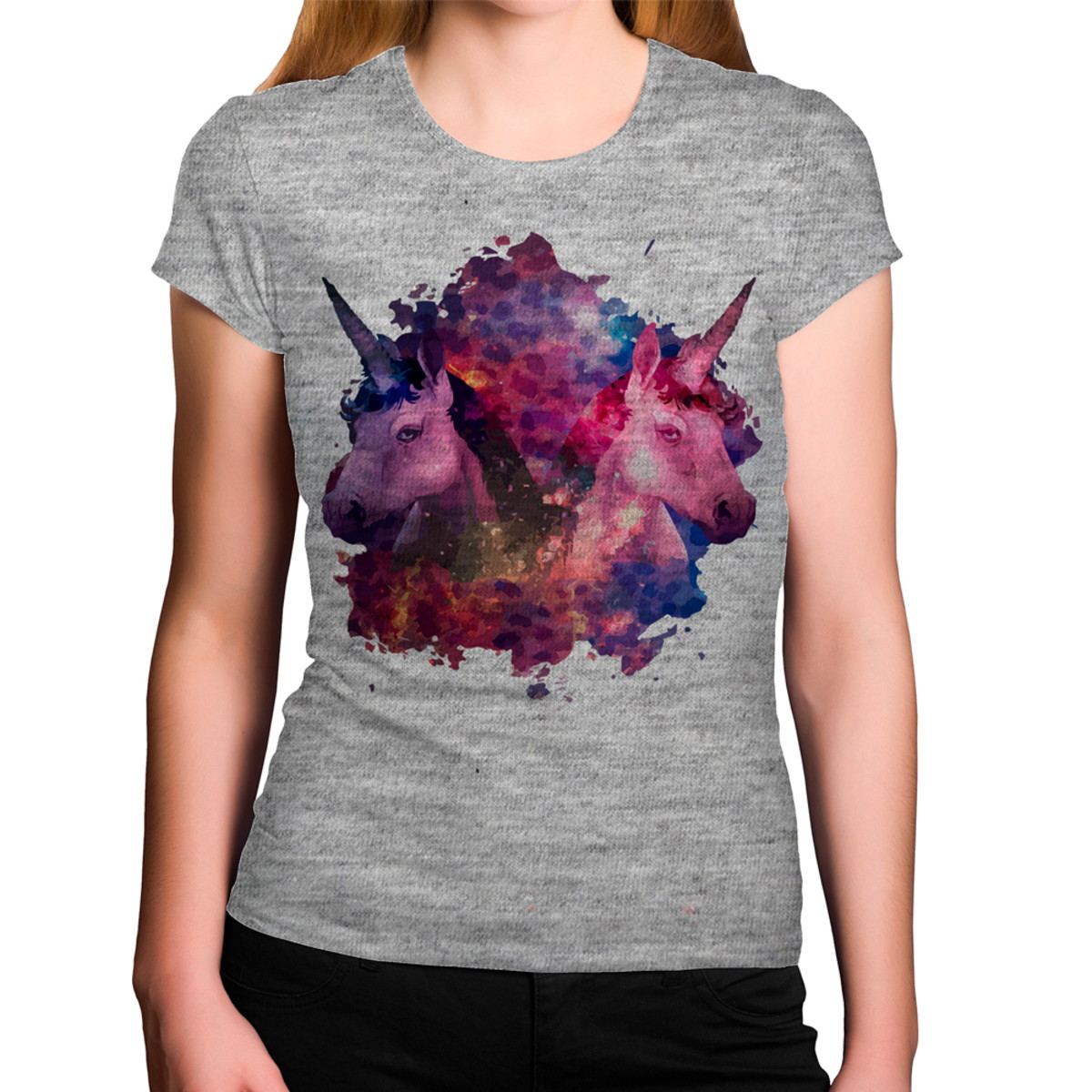 2a2498fde2 Camiseta Feminina Cinza Mescla Unicórnio Roxo Colorido no Elo7 ...