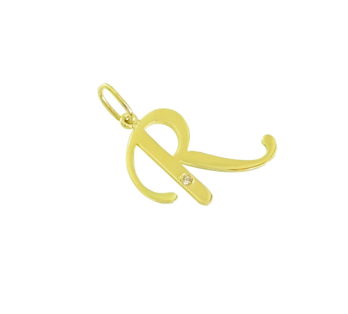 Pingente Letra R   Ouro 18k   Brilhante no Elo7   Atelier de Joias ... baddd93cb8