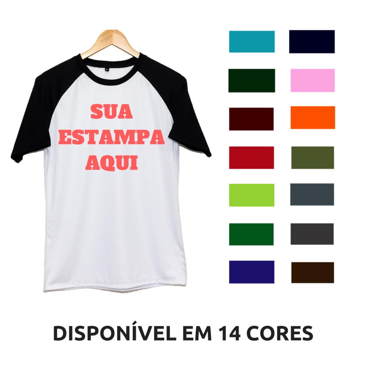 a61b6f8817456 Camiseta Raglan Sua Estampa Aqui Manga Curta Personalizada no Elo7 ...