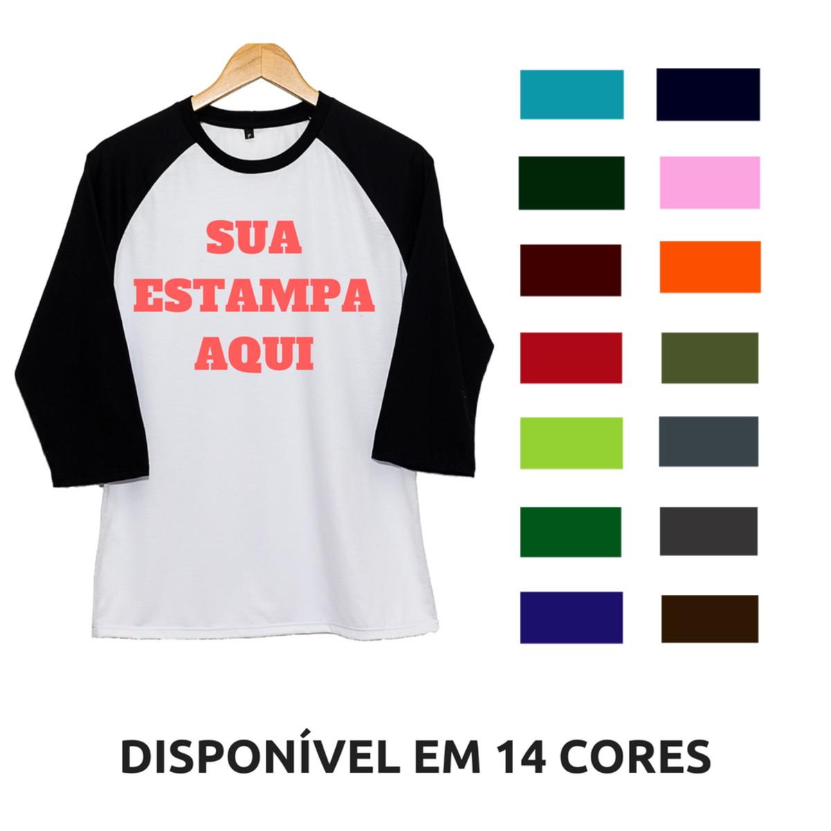 9173130bf3c Camiseta Raglan Sua Estampa Aqui Manga 3 4 Personalizada no Elo7 ...