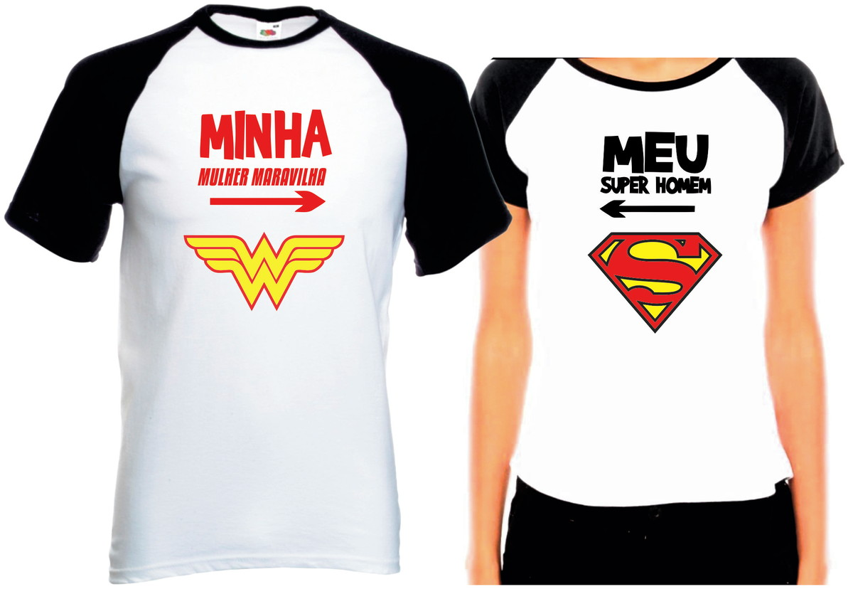 Camisetas Casal Namorados Super Homem E Mulher Maravilha Kit no Elo7 ... 4b4c9521dc8fe