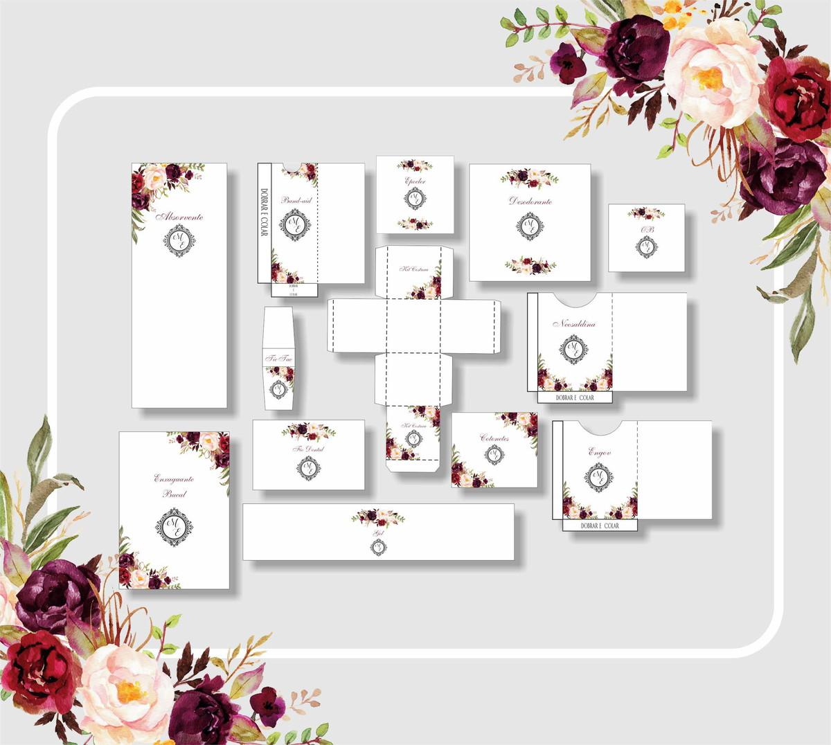 Kit Banheiro Casamento Digital Marsala No Elo7 Fe Franco Artes