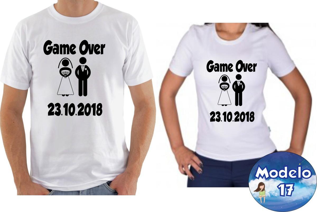 Kit camiseta personalizadas namorados casal com 2 GAME OVER no Elo7 ... d62ba556eb710