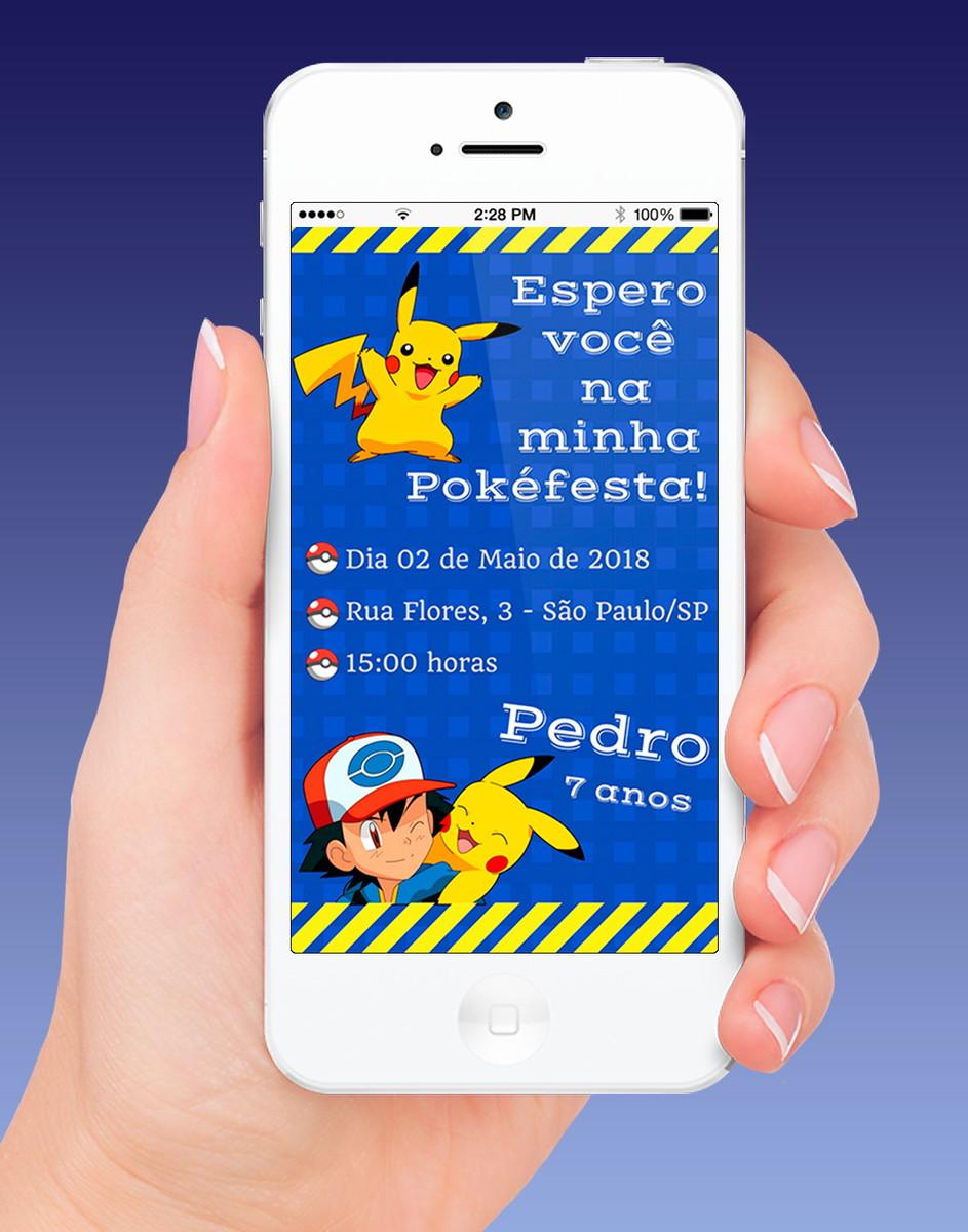 Pokémon - Convite virtual + versão para impressão no Elo7  7e34561da8ed0