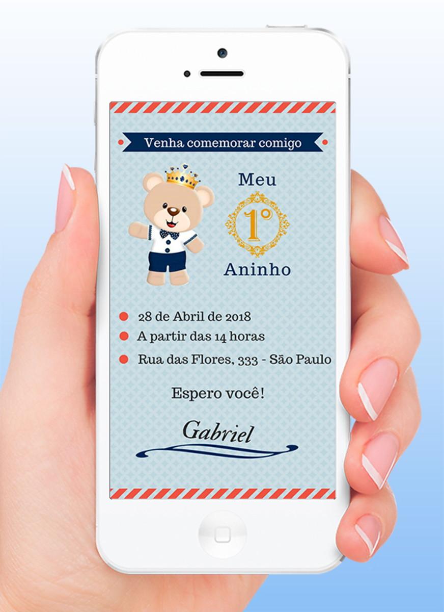 Ursinho Menino - Convite virtual + versão para impressão no Elo7 ... 687c942d31702