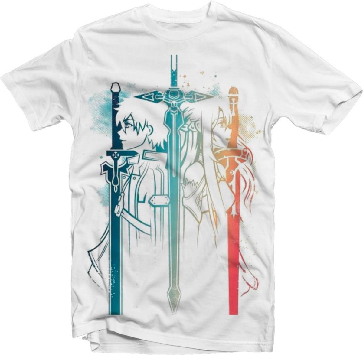 2db44c1c8 Camiseta Anime SAO Sword Art Online Kirito Asuna Branca 01 no Elo7 ...