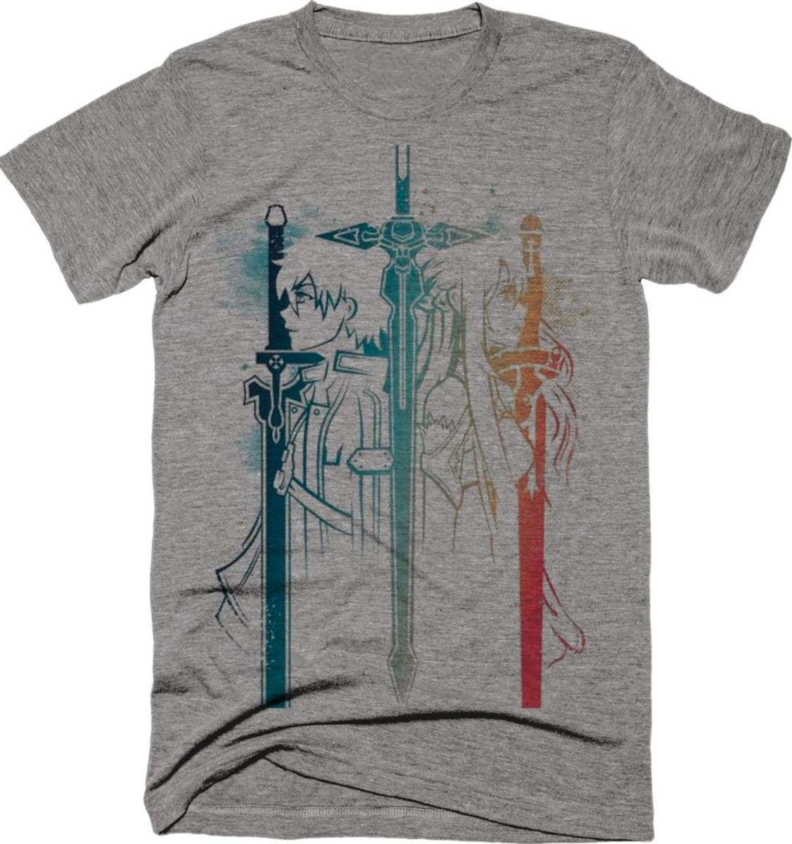 a3b4edf2b Camiseta Anime SAO Sword Art Online Kirito Asuna Mescla 01 no Elo7 ...