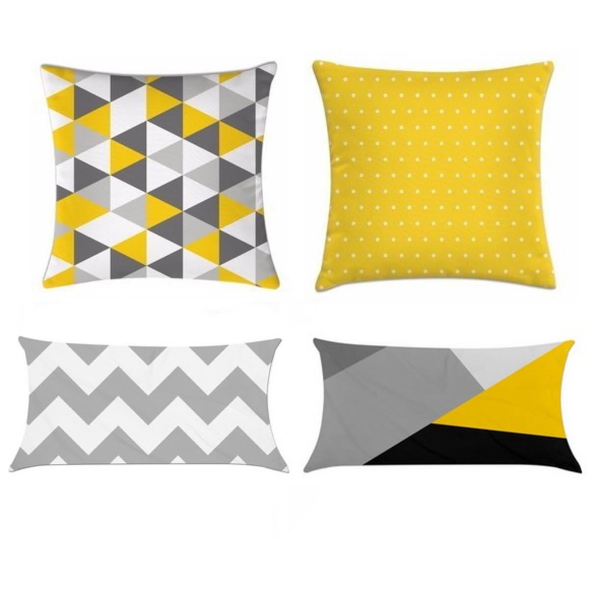 5cd9cd5c2528aa Kit 4 Capas Almofadas Decorativa Cinza e amarelo