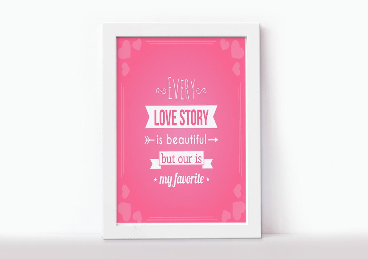 Quadro Decorativo Frases Inglês Every Love Story