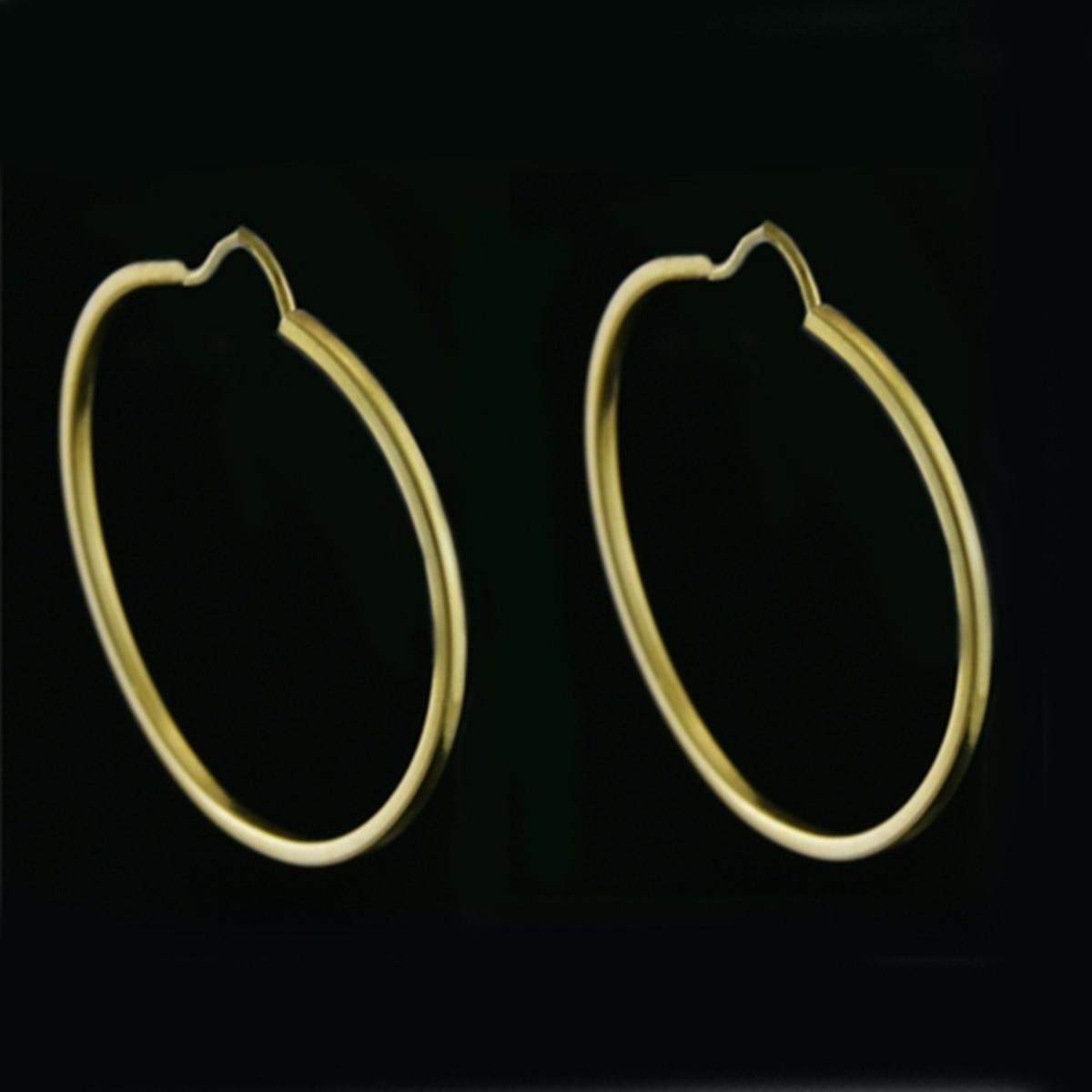 4262bb520d444 Brinco de Ouro 18k Argola Redonda com fio Quadrado no Elo7