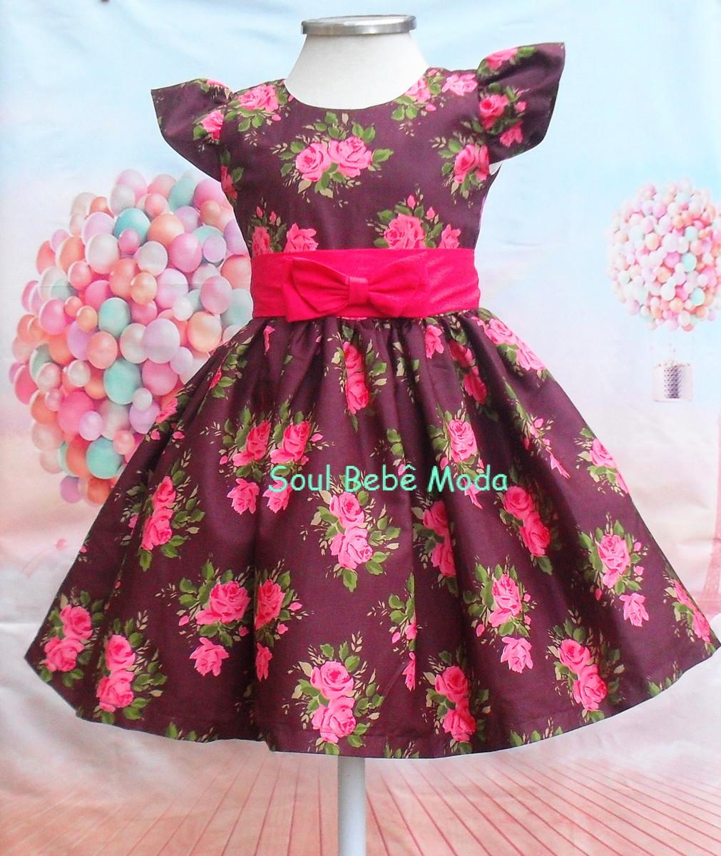 1982b44e2 Vestido Festa Infantil Floral Rosa no Elo7   Soul Bebê Moda Kids ...