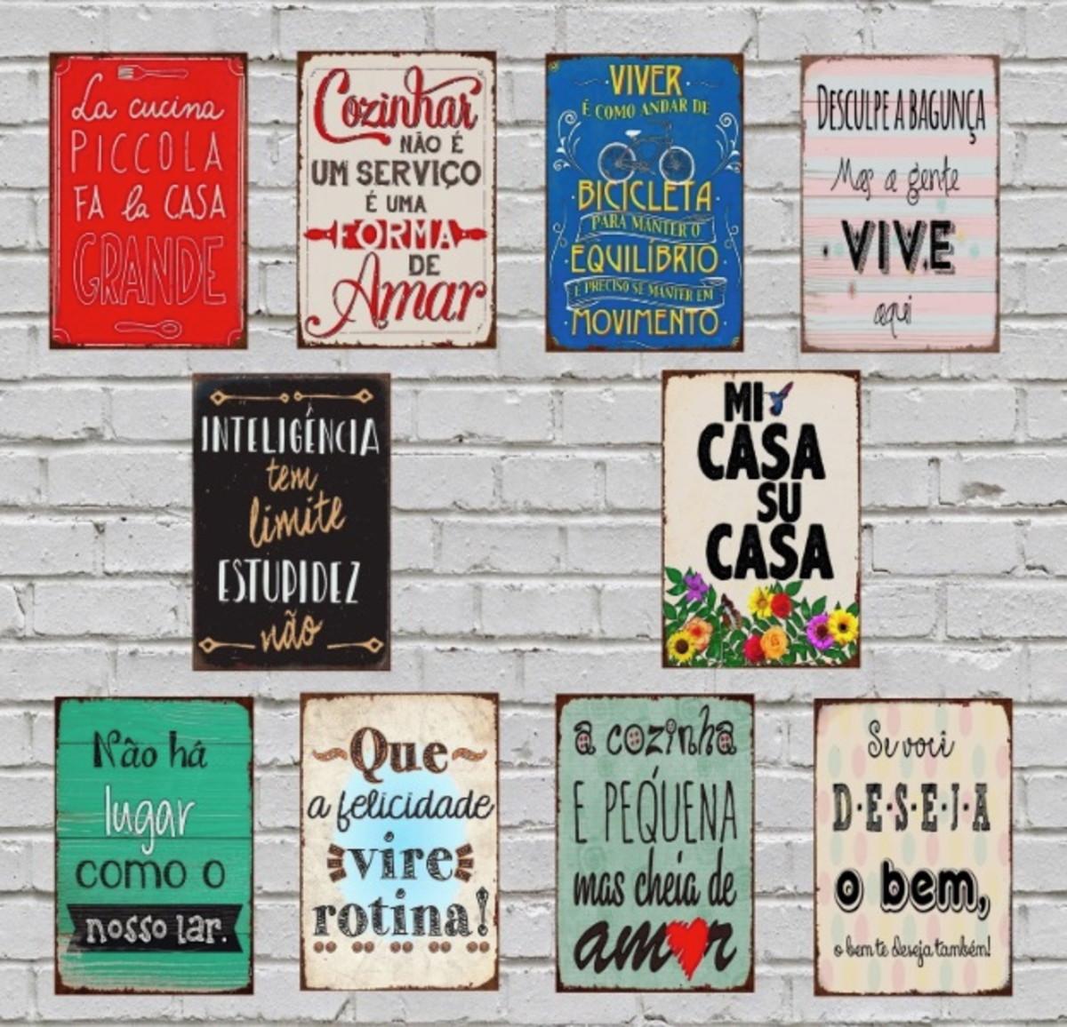 10 Placas Quadros Decorativos Frases Motivacionais