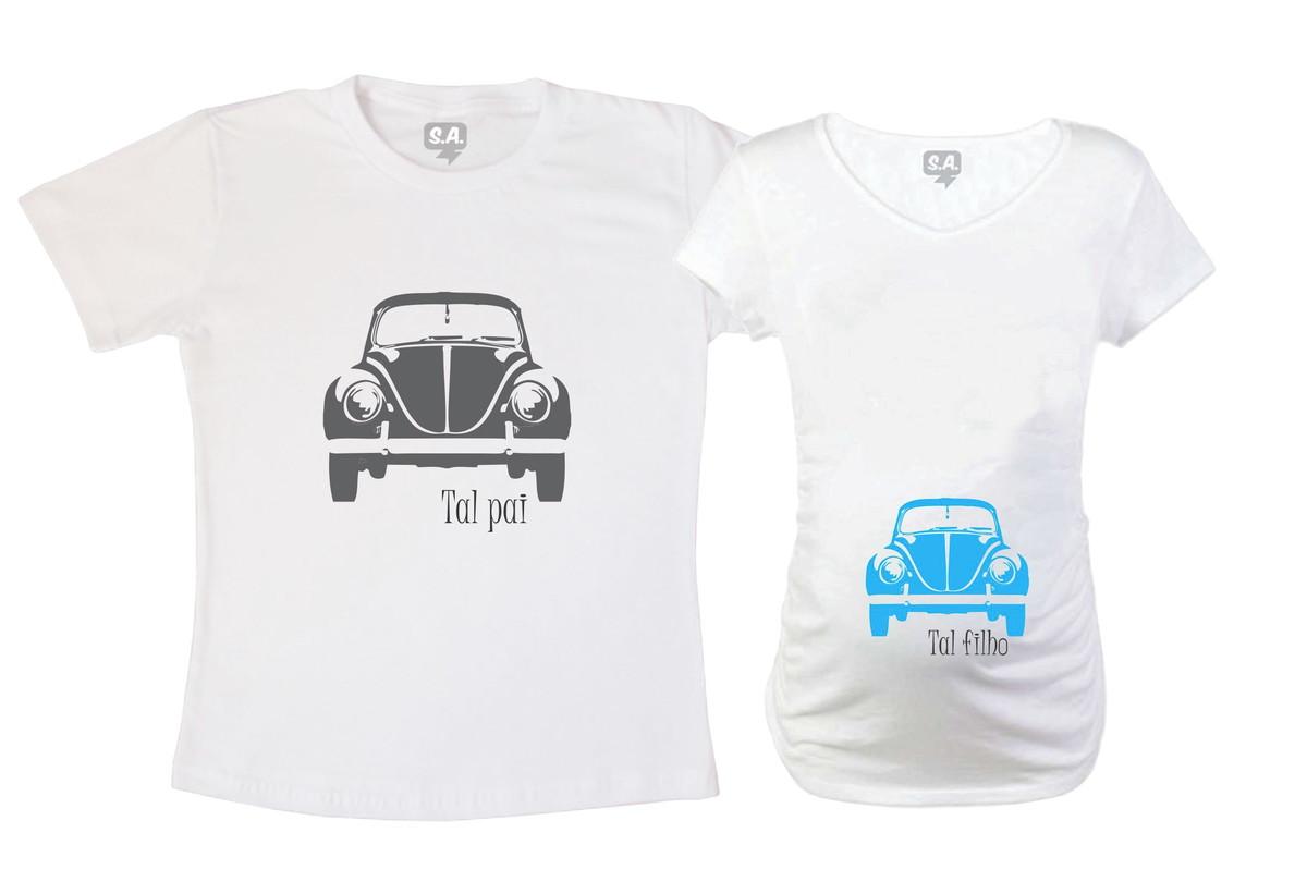 b9a280c33 Kit Camiseta e Baby Long - Fusca no Elo7