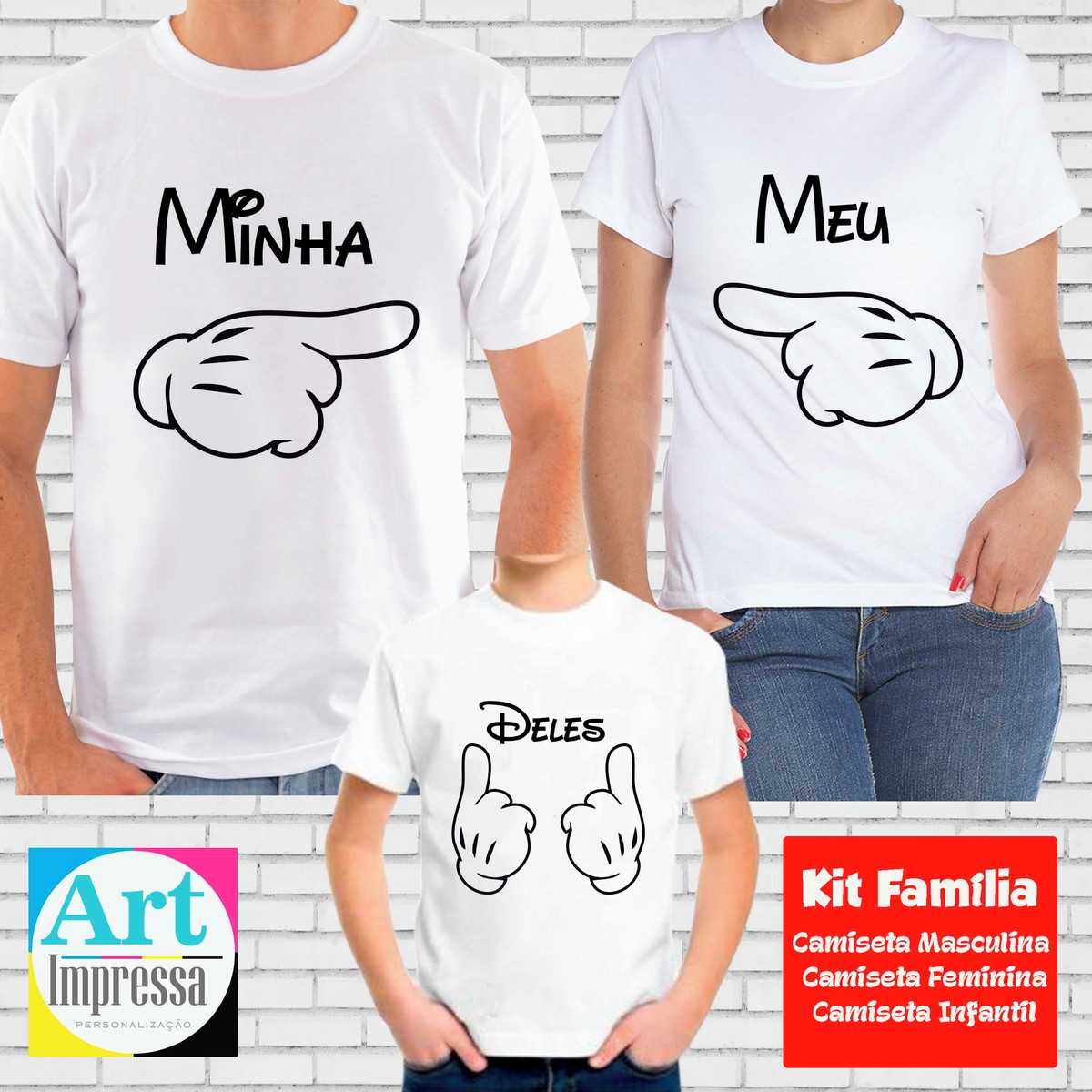 aa9c7cd05d Kit Camisetas Família Mickey no Elo7