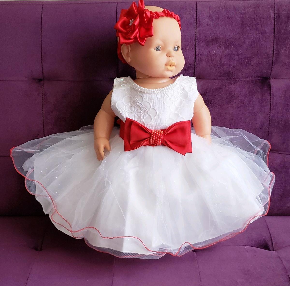 435c90990 Vestido festa branco e vermelho 5 a 8 meses promoção no Elo7