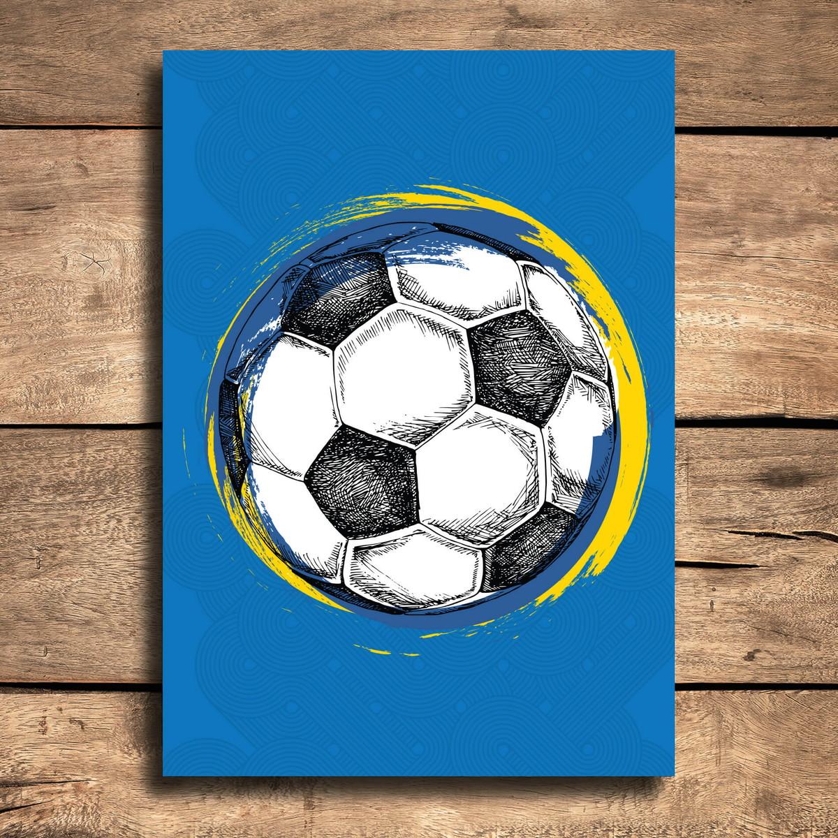Placa Decorativa MDF Bola de Futebol Fundo Azul 20x30cm no Elo7 ... b407490b506f5