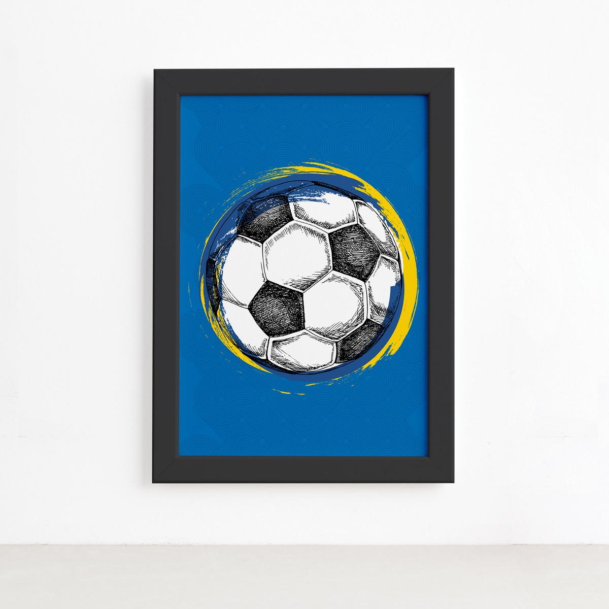 Quadro Bola de Futebol Fundo Azul 22x32 Moldura Preta no Elo7 ... c9f3d30927fea