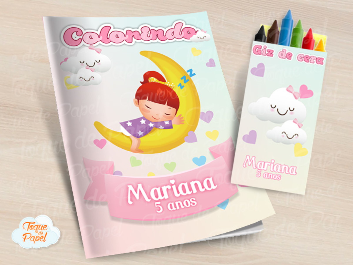 Kit Colorir Com Giz De Cera Doces Sonhos Menina No Elo7 Toque De