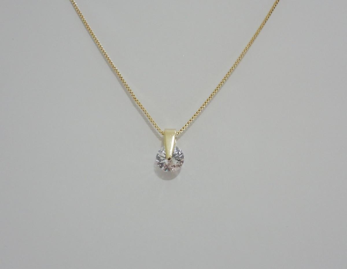 Gargantilha Folheada a Ouro - Ponto de Luz Grande no Elo7   Pedra do ... c42c8218b9