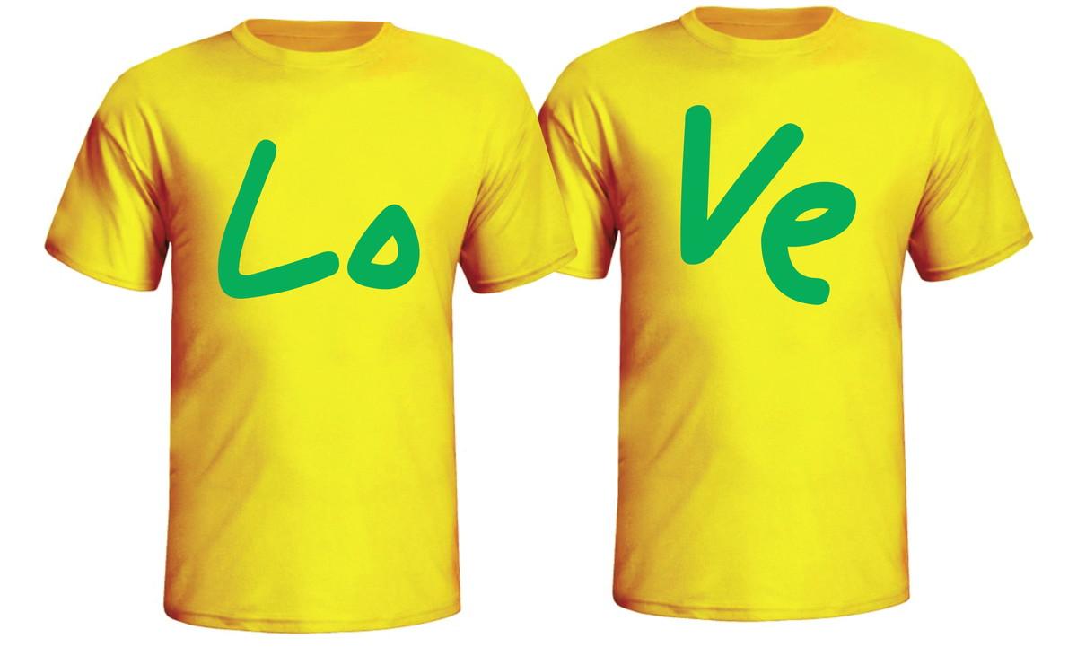 7526f30734cf6 Camisetas Namorados Love Casal Amarela no Elo7 | Loja Das Camisetas ...
