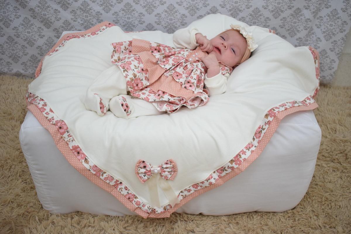 Saída Maternidade Menina Anny 5 peças Salmão no Elo7  58dad23cd7e