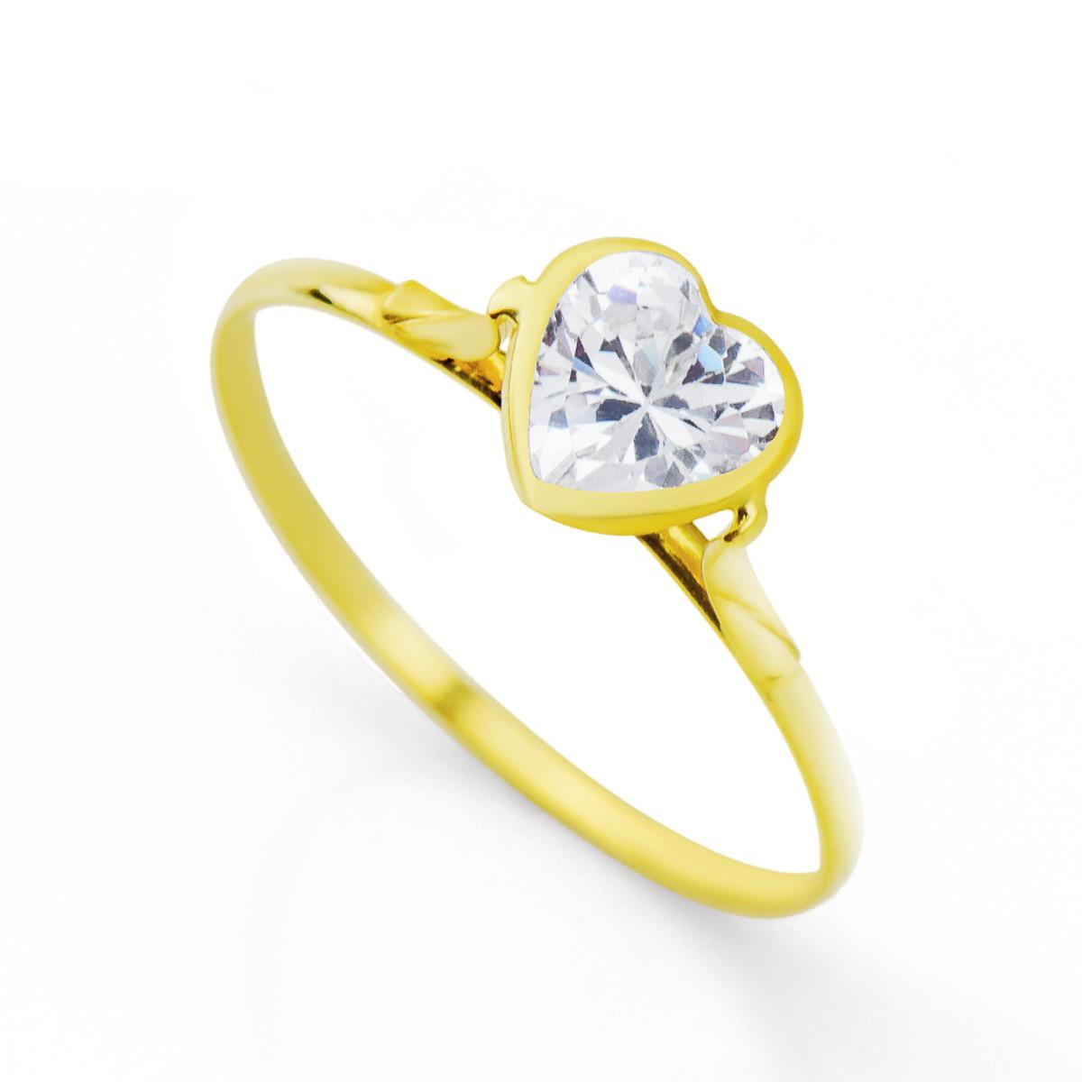 bf8ac47152edc Anel de Ouro 18k Coração com Zircônia no Elo7   LSR Joias (C60A18)