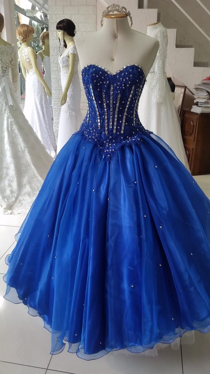 a92701029a Vestido 15 anos azul royal no Elo7