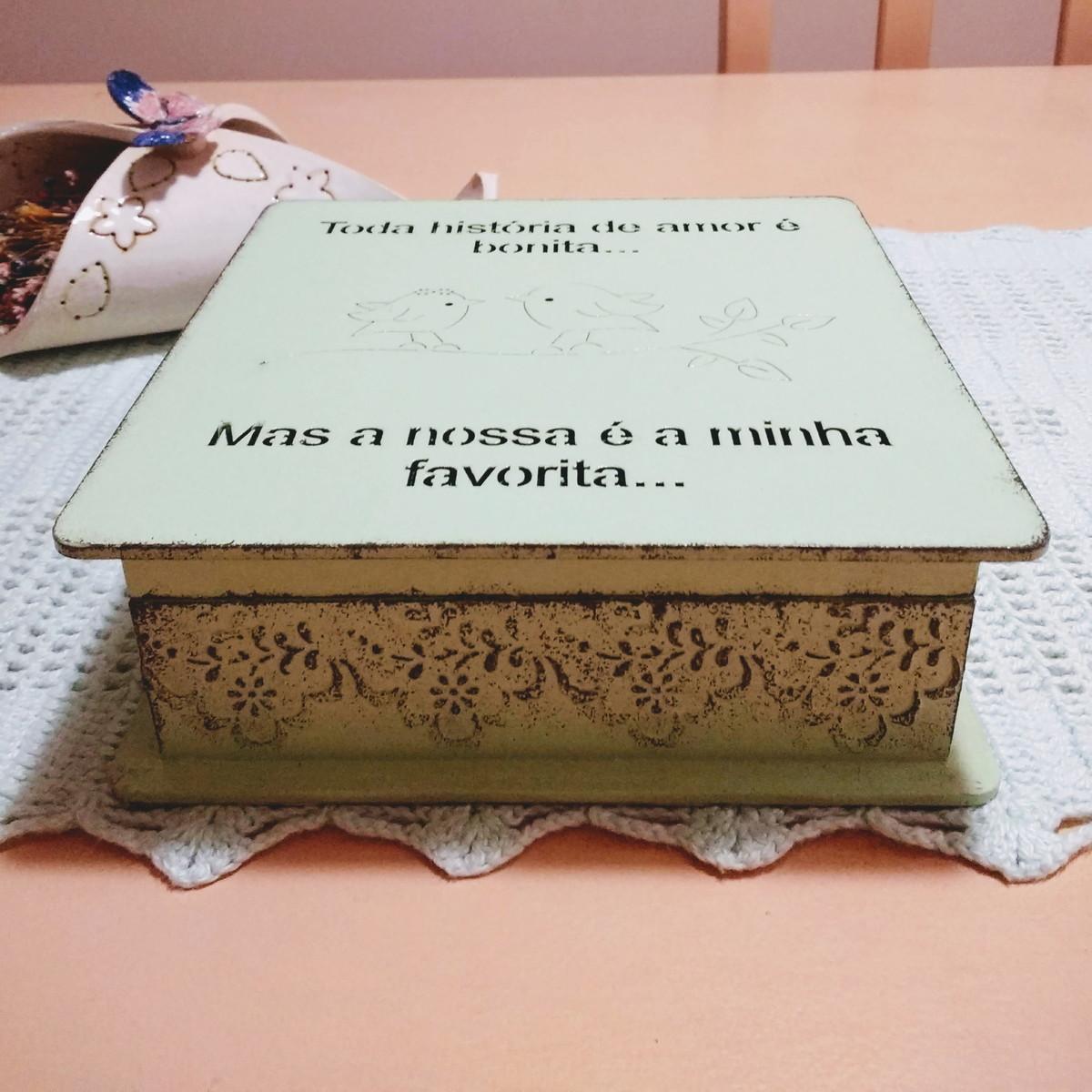 Caixa Dia Dos Namorados Frases Romântica Pássaros 18x18 No Elo7