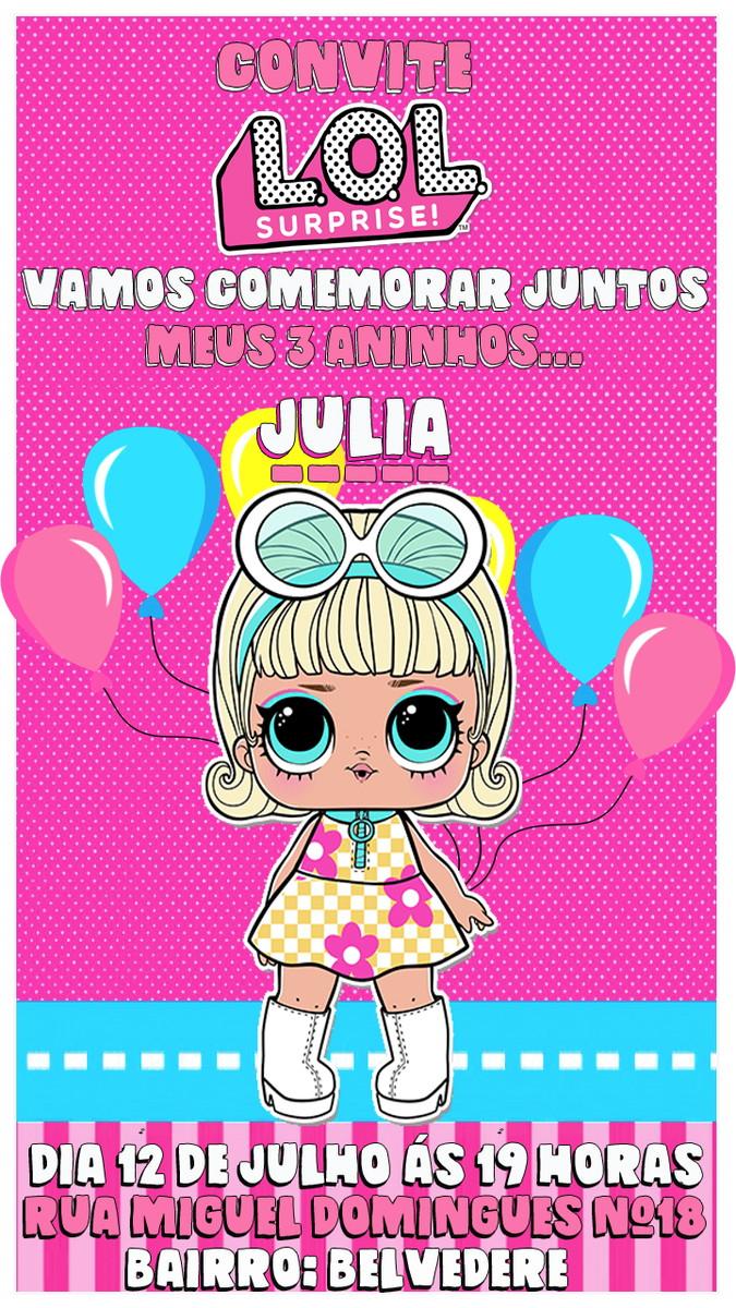 Convite Virtual Animado Para Aniversário Lol Surprise No Elo7