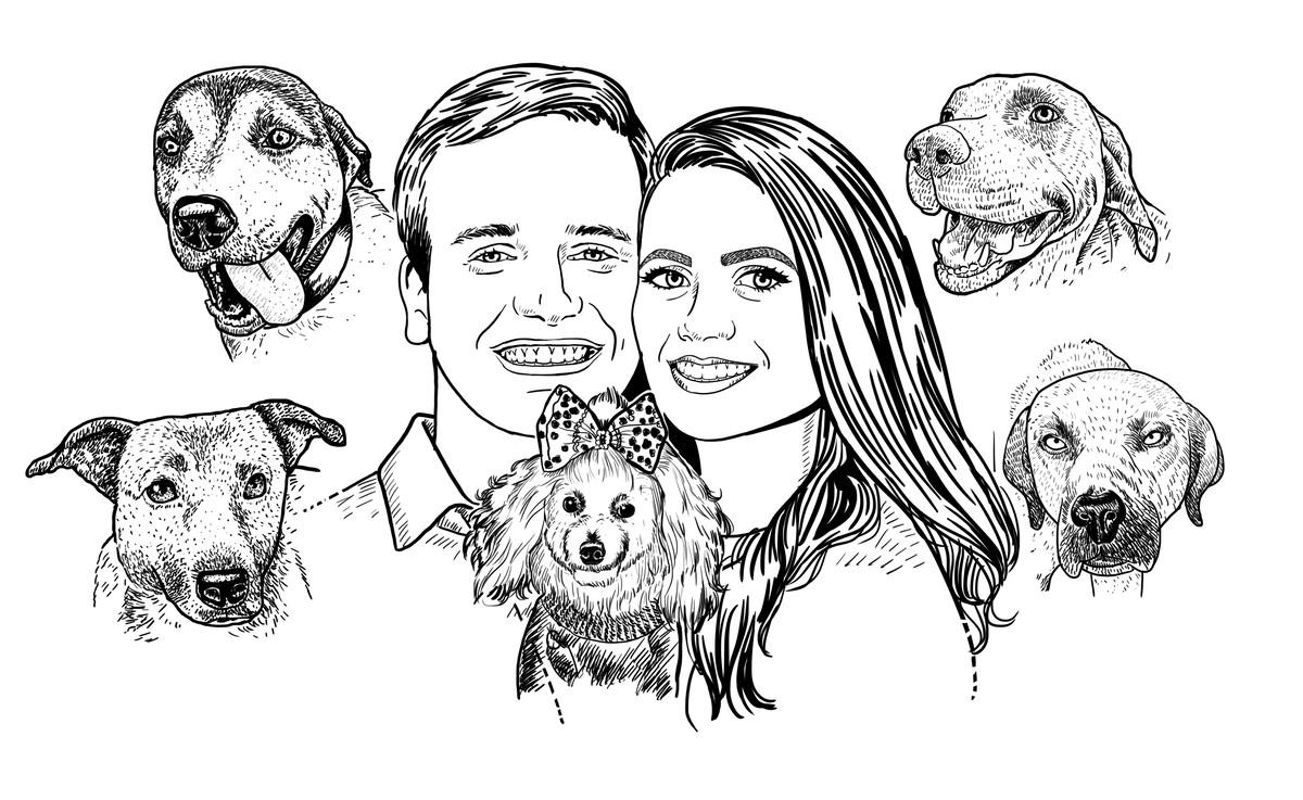 Linda Caricatura Casal Apaixonados Pets Preco Pessoa Ou Cao No