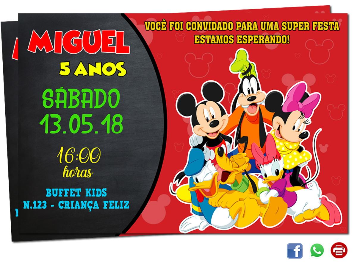 Convite Turma Do Mickey Digital
