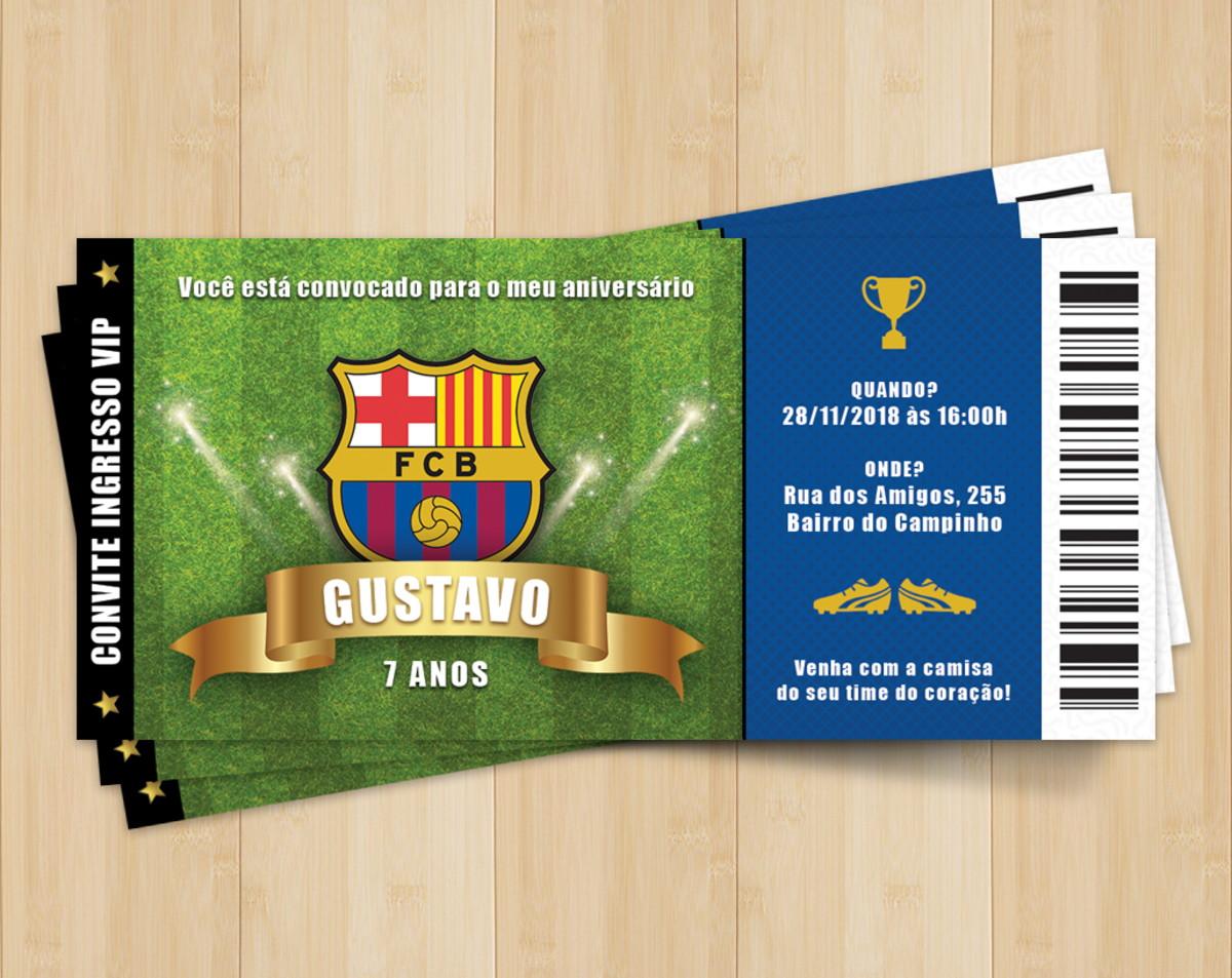 Convite Ingresso Futebol Barcelona - Digital 01 no Elo7  e88083c9f4168